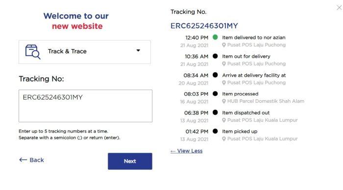 Poslaju Tracking Result on Pos.com.my website